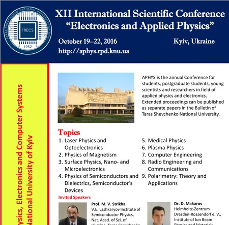 XII International Scientific Conference Electronics and Applied Physics